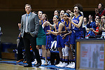 DURHAM, NC - NOVEMBER 26: Presbyterian head coach Todd Steelman. The Duke University Blue Devils hosted the Presbyterian College Blue Hose on November 26, 2017 at Cameron Indoor Stadium in Durham, NC in a Division I women's college basketball game. Duke won the game 79-45.