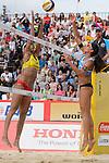 31.05.2015, Moskau, Vodny Stadion<br /> Moskau Grand Slam, Main Draw / Spiel Platz 3/4<br /> <br /> Block Fan Wang (#1 CHN) - Angriff Marta Menegatti (#1 ITA)<br /> <br />   Foto &copy; nordphoto / Kurth