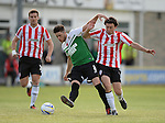 10 July 2014; Barry McNamee, Derry City, in action against Bari Morgan, Aberystwyth Town. UEFA Europa League First Qualifying Round, Second Leg, Aberystwyth Town v Derry City. Park Avenue, Aberystwth, Wales. Picture credit: Ian Cook / SPORTINGWALES