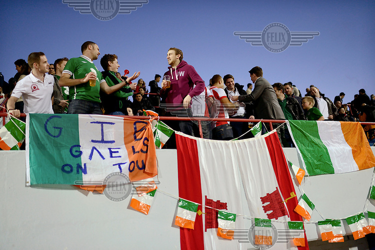Fans cheer and sing in the stands of the Victoria Stadium during an under-17 football match against Northern Ireland. Although the United Nations doesn't recognise Gibraltar as an independent country, UEFA has recognised it and has granted the British Overseas Territory full UEFA membership.