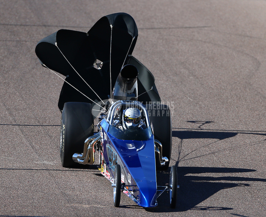 Feb 26, 2016; Chandler, AZ, USA; NHRA top dragster driver Thomas Bayer during qualifying for the Carquest Nationals at Wild Horse Pass Motorsports Park. Mandatory Credit: Mark J. Rebilas-