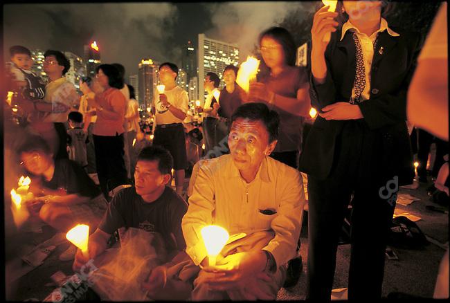 Democracy vigil held after the British handed Hong Kong over to China. Hong Kong, July 1997