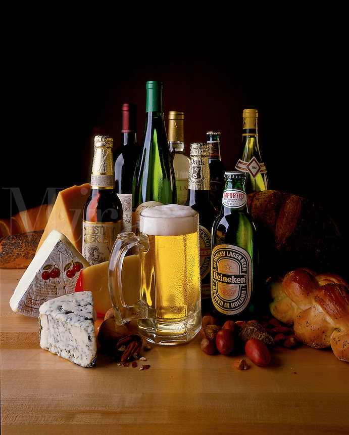 Imported beer and cheese.