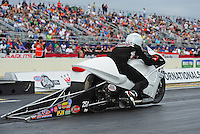Mar. 10, 2012; Gainesville, FL, USA; NHRA pro stock motorcycle rider Steve Johnson during qualifying for the Gatornationals at Auto Plus Raceway at Gainesville. Mandatory Credit: Mark J. Rebilas-