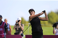 Lexi Thompson (USA) tees off the 7th tee during Thursday's Round 1 of The Evian Championship 2018, held at the Evian Resort Golf Club, Evian-les-Bains, France. 13th September 2018.<br /> Picture: Eoin Clarke | Golffile<br /> <br /> <br /> All photos usage must carry mandatory copyright credit (© Golffile | Eoin Clarke)
