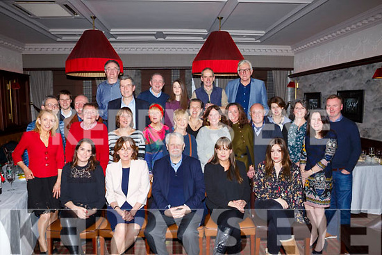 Joe Revington of Tralee and Dublin, seated front centre, celebrating his 70th birthday with family and friends on Saturday night in Grand Hotel.