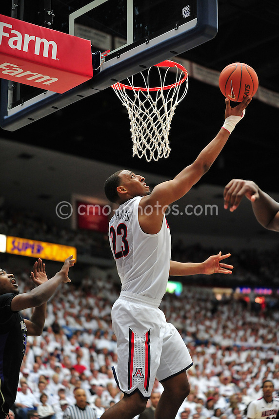 Feb 19, 2011; Tucson, AZ, USA; Arizona Wildcats forward Derrick Williams (23) shoots a reverse layup in the 1st half of a game against the Washington Huskies at the McKale Center.