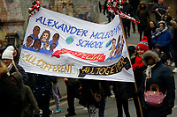 The Alexander McLeod School banner seen at the Red, White & Black day procession in support of Charlton Athletic Race & Equality Partnership (CARE) during the Sky Bet League 1 match between Charlton Athletic and Fleetwood Town at The Valley, London, England on 17 March 2018. Photo by Carlton Myrie.