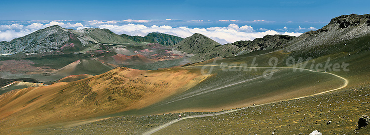 From the trail;head at s 9700 foot elevation, the Sliding Sands trail winds its way throiugh volcanic lava sands down to a garden of cinder cones on the crater floor in Haleakala National Park on Maui in Hawaii