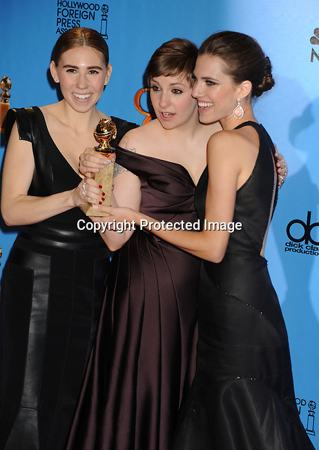 BEVERLY HILLS, CA - JANUARY 13: Actress Zosia Mamet, actress-director Lena Dunham, and actress Allison Williams pose in the press room at the 70th Annual Golden Globe Awards held at The Beverly Hilton Hotel on January 13, 2013 in Beverly Hills, California.