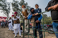 FARIDKOT, PUNJAB, INDIA - JANUARY 05, 2016: Spectators watch as greyhounds hurtle down the track towards the finish line during a greyhound race meet on January 5, 2016 in Faridkot, India. <br /> Daniel Berehulak for The New York Times