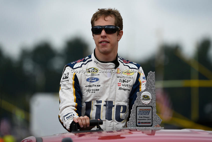 September 21, 2014 - Loudon, New Hampshire, U.S. - Sprint Cup Series driver Brad Keselowski (2) is driven to his car for the start of the Nascar Sprint Cup Series Sylvania 300 race held at the New Hampshire Motor Speedway in Loudon, New Hampshire.   Eric Canha/CSM