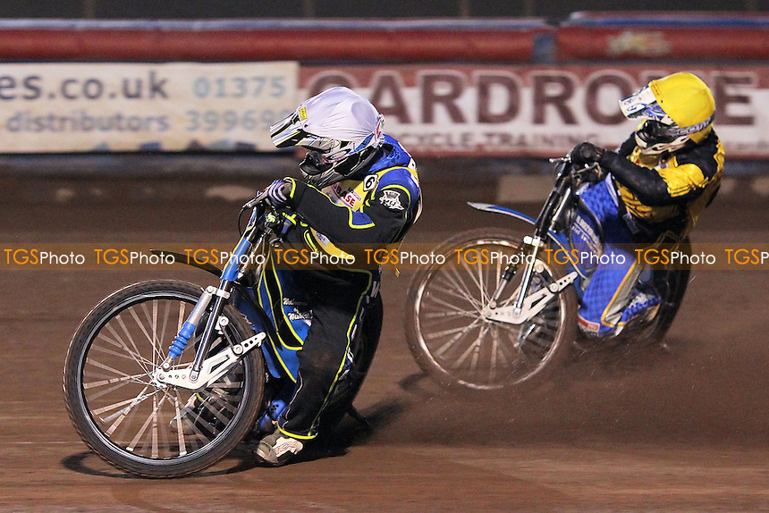 Heat 2: Jan Graversen (white) and Michal Szczepaniak - Lakeside Hammers vs Coventry Bees - Sky Sports Elite League Speedway at Arena Essex Raceway, Purfleet - 10/09/12 - MANDATORY CREDIT: Gavin Ellis/TGSPHOTO - Self billing applies where appropriate - 0845 094 6026 - contact@tgsphoto.co.uk - NO UNPAID USE.