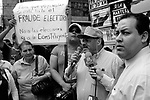 """Tegucigalpa (Honduras). November, 2009..The """"Resistance"""" against the coup d'etat celebrates every day a meeting at La Merced Square (Tegucigalpa downtown). At this Square is located de National Congress, protected by soldiers and policemen..Rafael Alegría, Via Campesina's leader."""