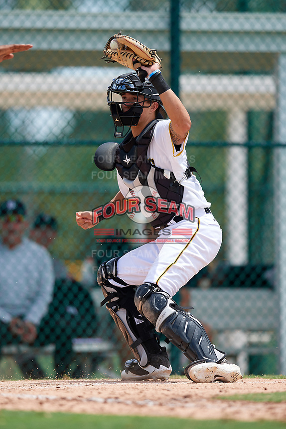 GCL Pirates catcher Ryan Haug (43) shows the ball to home plate umpire Tre Jester who makes a safe call during a game against the GCL Tigers West on August 13, 2018 at Pirate City Complex in Bradenton, Florida.  GCL Tigers West defeated GCL Pirates 5-1.  (Mike Janes/Four Seam Images)