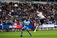 Bolton Wanderers' Eddie Brown heads at goal<br /> <br /> Photographer Andrew Kearns/CameraSport<br /> <br /> The EFL Sky Bet Championship - Bolton Wanderers v Coventry City - Saturday 10th August 2019 - University of Bolton Stadium - Bolton<br /> <br /> World Copyright © 2019 CameraSport. All rights reserved. 43 Linden Ave. Countesthorpe. Leicester. England. LE8 5PG - Tel: +44 (0) 116 277 4147 - admin@camerasport.com - www.camerasport.com