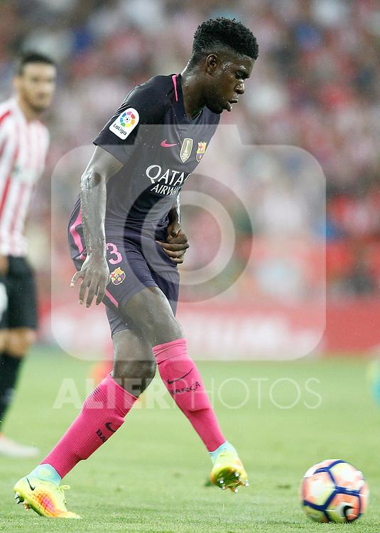 FC Barcelona's Samuel Umtiti during La Liga match. August 28,2016. (ALTERPHOTOS/Acero)