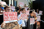 A rally to protect access to public lands is held on the steps of the Legislative Building in Carson City, Nev., on Tuesday, March 31, 2015. <br /> Photo by Cathleen Allison