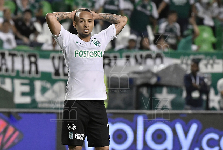 PALMIRA - COLOMBIA, 21-08-2019: Jarlan Barrera de Nacional reacciona tras perder una opción de gol durante el partido entre Deportivo Cali y Atlético Nacional por la fecha 7 de la Liga Águila II 2019 jugado en el estadio Deportivo Cali de la ciudad de Palmira. / Jarlan Barrera of Nacional reacts after losing a goal opportunity during match for the date 7 between Deportivo Cali and Atletico Nacional of the Aguila League II 2019 played at Deportivo Cali stadium in Palmira city. Photo: VizzorImage / Gabriel Aponte / Staff