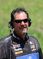 May 19, 2012; Topeka, KS, USA: NHRA crew member for top fuel dragster driver David Grubnic during qualifying for the Summer Nationals at Heartland Park Topeka. Mandatory Credit: Mark J. Rebilas-