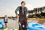 April 30, 2012. Charlotte, NC..Erik Weihenmayer gets ready to get in his kayak for the first set of runs of the day.. Erik Weihenmayer, who has been completely blind since age 13, is training at the United States National White Water Center in an attempt to kayak through the Grand Canyon. Weihenmayer is an accomplished outdoorsman who has climbed the 7 Summits, and is the only blind person to climb Mount Everest.