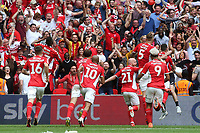 Patrick Bauer leaps into the air to celebrate scoring Charlton's second goal during Charlton Athletic vs Sunderland AFC, Sky Bet EFL League 1 Play-Off Final Football at Wembley Stadium on 26th May 2019