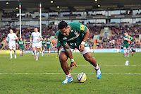 Manu Tuilagi scores a try. Aviva Premiership match, between Leicester Tigers and Exeter Chiefs on March 23, 2014 at Welford Road in Leicester, England. Photo by: Patrick Khachfe / JMP