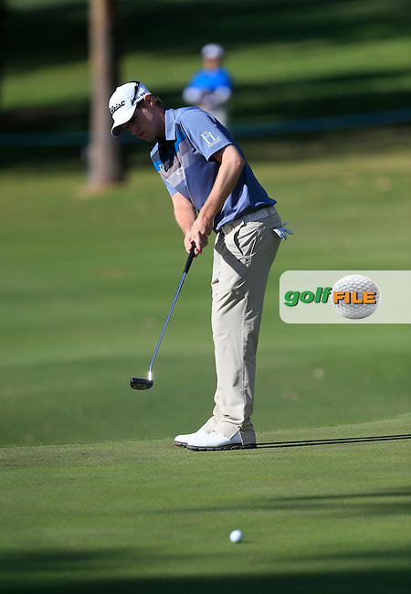 Kevin Phelan (IRL) on the 8th green during Round 1 of the ISPS HANDA Perth International at the Lake Karrinyup Country Club on Thursday 23rd October 2014.<br /> Picture:  Thos Caffrey / www.golffile.ie