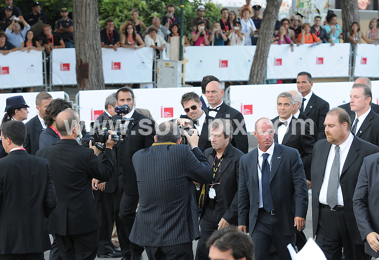 **ALL ROUND PICTURES FROM SOLARPIX.COM**.**WORLDWIDE SYNDICATION RIGHTS**.The 1st gala premiere of  the 65th Venice Film Festival, The Coen Brothers' 'Burn After Reading'. Venice, Italy. August 27, 2008..This pic: Brad Pitt and George Clooney..JOB REF:  7134 SSD     DATE: 27_08_2008.**MUST CREDIT SOLARPIX.COM OR DOUBLE FEE WILL BE CHARGED* *UNDER NO CIRCUMSTANCES IS THIS IMAGE TO BE REPRODUCED FOR ANY ONLINE EDITION WITHOUT PRIOR PERMISSION*