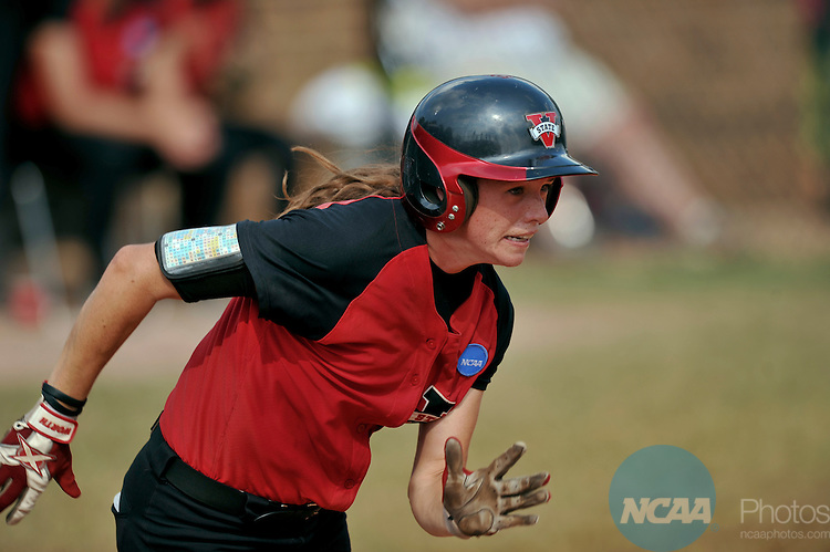 19 MAY 2012: Ashley Steinhilber of Valdosta State runs to first base during the Division II Women's Softball Championship held at Knights Field on the campus of the Bellarman University in Louisville, KY. Valdosta State defeated UC San Diego 4-1 to claim the national title. Stephen Nowland/NCAA Photos