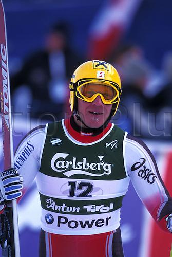 2 February 2001: Portrait of HERMANN MAIER (AUT) in training for the Mens Downhill, World Skiing Championships, St Anton, Austria. Photo: Neil Tingle/Action plus...skier men sponsorship branding.010202