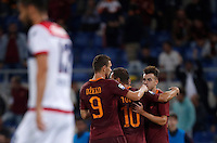 Calcio, Serie A: Roma, stadio Olimpico, 21 settembre 2016.<br /> Roma's Stephan El Shaarawy, right, celebrates with teammates Edin Dzeko, left, and Francesco Totti, after scoring during the Serie A soccer match between Roma and Crotone at Rome's Olympic stadium, 21 September 2016. Roma won 4-0.<br /> UPDATE IMAGES PRESS/Isabella Bonotto