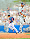 11 March 2008: Detroit Tigers' pitcher Yorman Bazardo stands on the mound after serving up a home run ball to Indians' outfielder Grady Sizemore during a Spring Training game against the Cleveland Indians at Chain of Lakes Park, in Winter Haven Florida.The Tigers rallied to defeat the Indians 4-2 in the Grapefruit League matchup....Mandatory Photo Credit: Ed Wolfstein Photo
