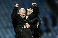 Blackpool's manager Terry McPhillips celebrates a 1-0 victory over Portsmouth with assistant manager Gary Brabin<br /> <br /> Photographer Andrew Kearns/CameraSport<br /> <br /> The EFL Sky Bet League One - Portsmouth v Blackpool - Saturday 12th January 2019 - Fratton Park - Portsmouth<br /> <br /> World Copyright &copy; 2019 CameraSport. All rights reserved. 43 Linden Ave. Countesthorpe. Leicester. England. LE8 5PG - Tel: +44 (0) 116 277 4147 - admin@camerasport.com - www.camerasport.com