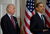 Washington, D.C. - March 20, 2009 -- United States President Barack Obama, right, and Vice President Joseph Biden, left,  deliver remarks to the representatives of the National Conference of State Legislatures..Credit: Kristoffer Tripplaar-Pool via CNP
