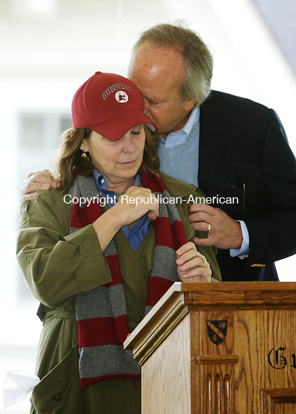 WASHINGTON, CT 9/13/07- 091507BZ09- Actress Susan Saint James is comforted by her husband Dick Ebersol after speaking during the dedication of Teddy House, a new freshman dorm on The Gunnery campus named in memory of their son Teddy Ebersol.  Teddy Ebersol, who was killed in a plane crash, was a student at The Gunnery.<br /> Jamison C. Bazinet Republican-American