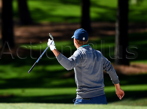 09.04.2016. Augusta, GA, USA.  A frustrated Jordan Spieth turns his back to the 7th green after hitting from a bunker during the third round of the 80th Masters at the Augusta National Golf Club in Augusta, Ga., on Saturday, April 9, 2016