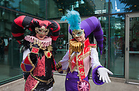 Two Colorful Court Jesters, Sakura Con 2017, Seattle, Washington, USA.