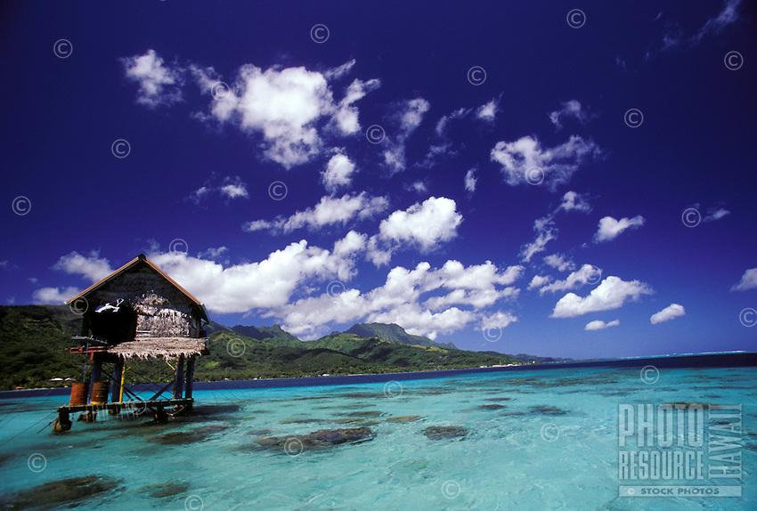 Pearl farm in crystal blue waters of reef lagoon, Tahiti, French Polynesia