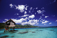 Pearl farm in crystal blue waters of reef lagoon, Tahiti, French Polynesia