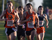 Oct 19, 2013; La Mirada, CA, USA; John Guzman (561) and Colin Smith (570) of Occidental placed second and third in the mens race in 25:27 and 25:58 in the SCIAC multi-dual meet at La Mirada Park. Photo by Kirby Lee John Guzman Aguilar