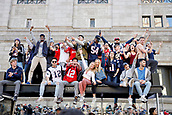 5th February 2019, Boston, Massachusetts, USA;  Fans get a better view during the New England Patriots Super Bowl Victory Parade on February 5th 2019, through the streets of Boston, Massachusetts.