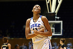 07 January 2016: Duke's Azura Stevens reacts after getting fouled while scoring. The Duke University Blue Devils hosted the Wake Forest University Demon Deacons at Cameron Indoor Stadium in Durham, North Carolina in a 2015-16 NCAA Division I Women's Basketball game. Duke won the game 95-68.