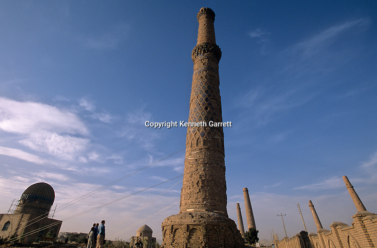 Gowhar Shad, minarets and mausoleum, 15th century, under renovation and supported by steel cables, UNESCO, Afghanistan.