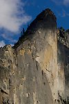 Sheer granite cliff face of Leaning Tower above Yosemite Valley, Yosemite National Park, California