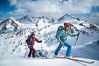 Ski touring on the Hauslabkogel, 3402 meters, during the Öztal ski tour, Austria