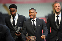 (L-R) Leroy Fer, Luciano Narsingh and Mike van der Hoorn  of Swansea City arrive prior to the game during the Premier League match between Swansea City and Watford at The Liberty Stadium, Swansea, Wales, UK. Saturday 23 September 2017