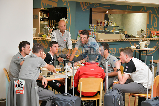 UAE Team Emirates at Aeroporto di Caselle Turin to transfer to Rome after Stage 20 of the 2018 Giro d'Italia,  Italy. 26th May 2018.<br /> Picture: LaPresse/Marco Alpozzi | Cyclefile<br /> <br /> <br /> All photos usage must carry mandatory copyright credit (© Cyclefile | LaPresse/Marco Alpozzi)