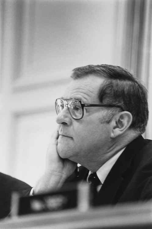 Close-up of Rep. J. Bob Traxler, D-Mich., in May 1992. (Photo by Maureen Keating/CQ Roll Call)