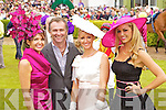 Winner of most Stylish hat, Milliner Carol Kennelly, Daithi O'Se, Winner of Dawn Daries Queen of Fashion Emir O'Shea and Rosanna Davidson pictured at Killarney Races Ladies day on Thursday.